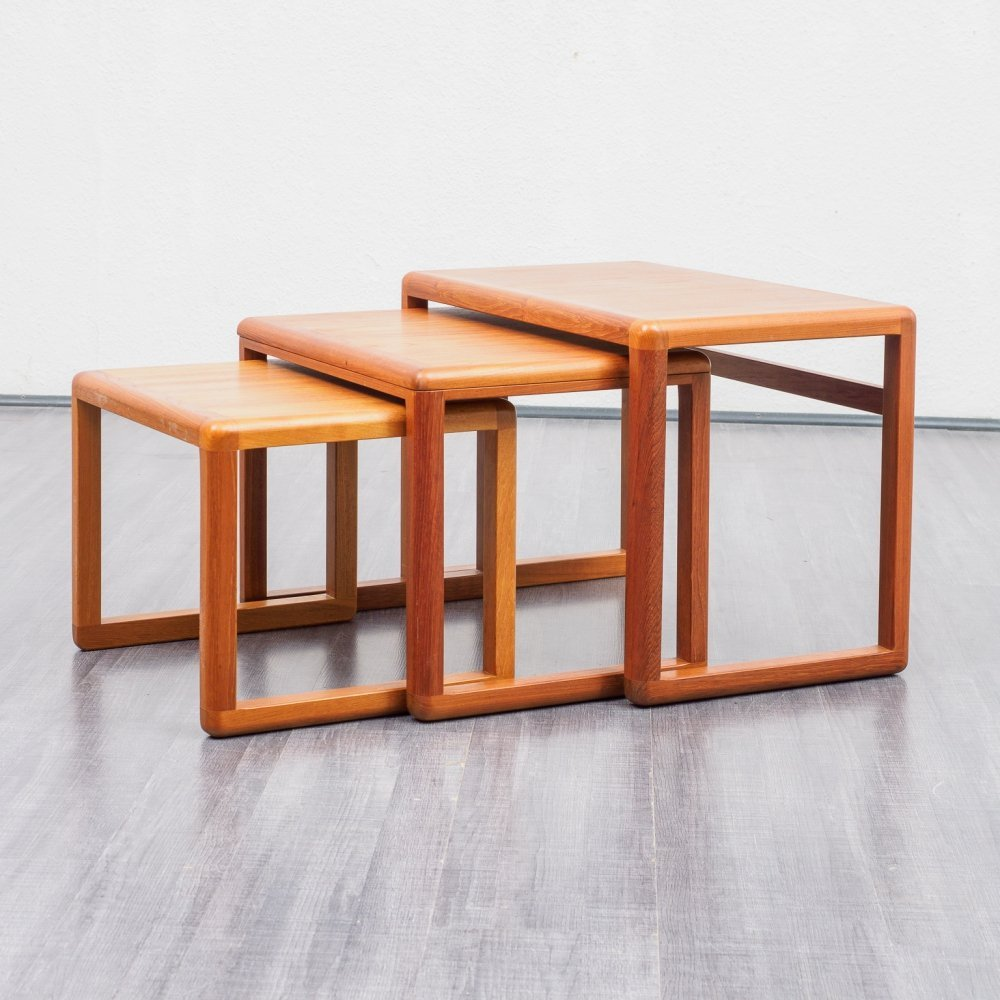 Mid Century Vintage set of Three Teak Nesting Tables by Dyrlund, Danish Design 1970s