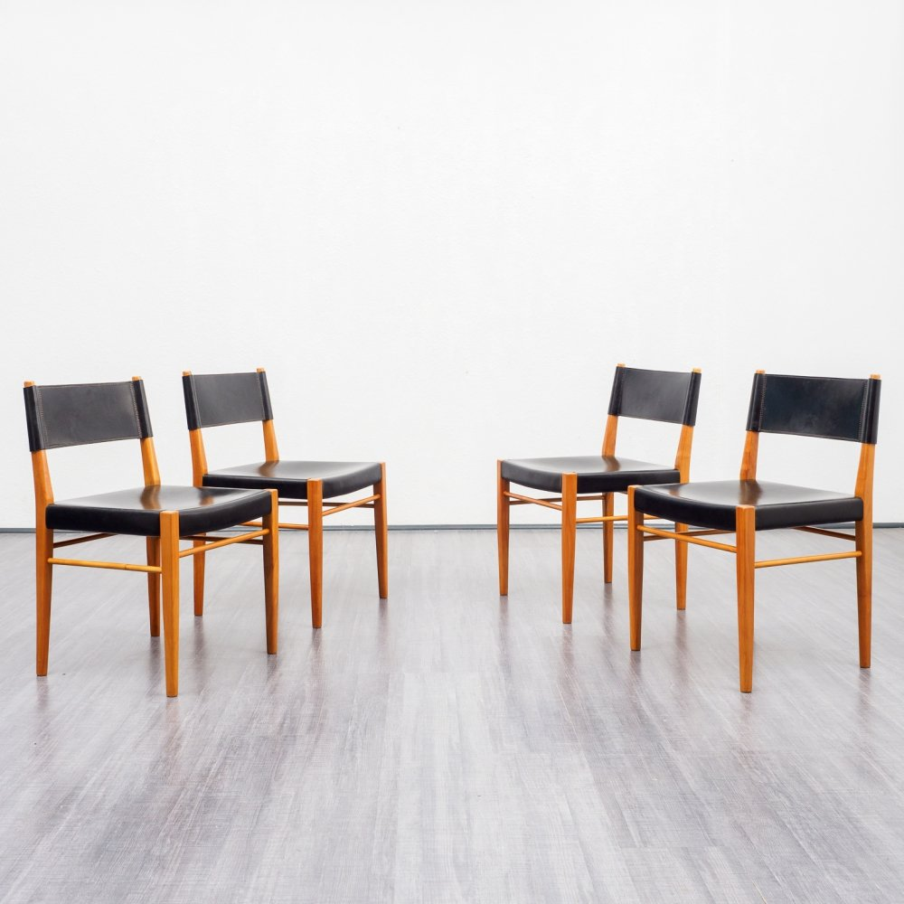 Midcentury set of four dining chairs in cherrywood & leather, 1960s