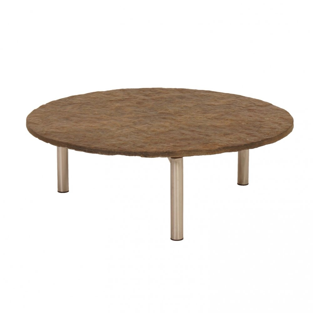Round Coffee Table with Dark Colored Slate, 1970s