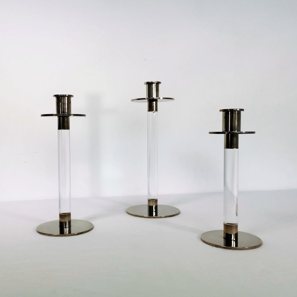 Set of 3 Dutch Candle holders by Koninklijke Begeer, 1980