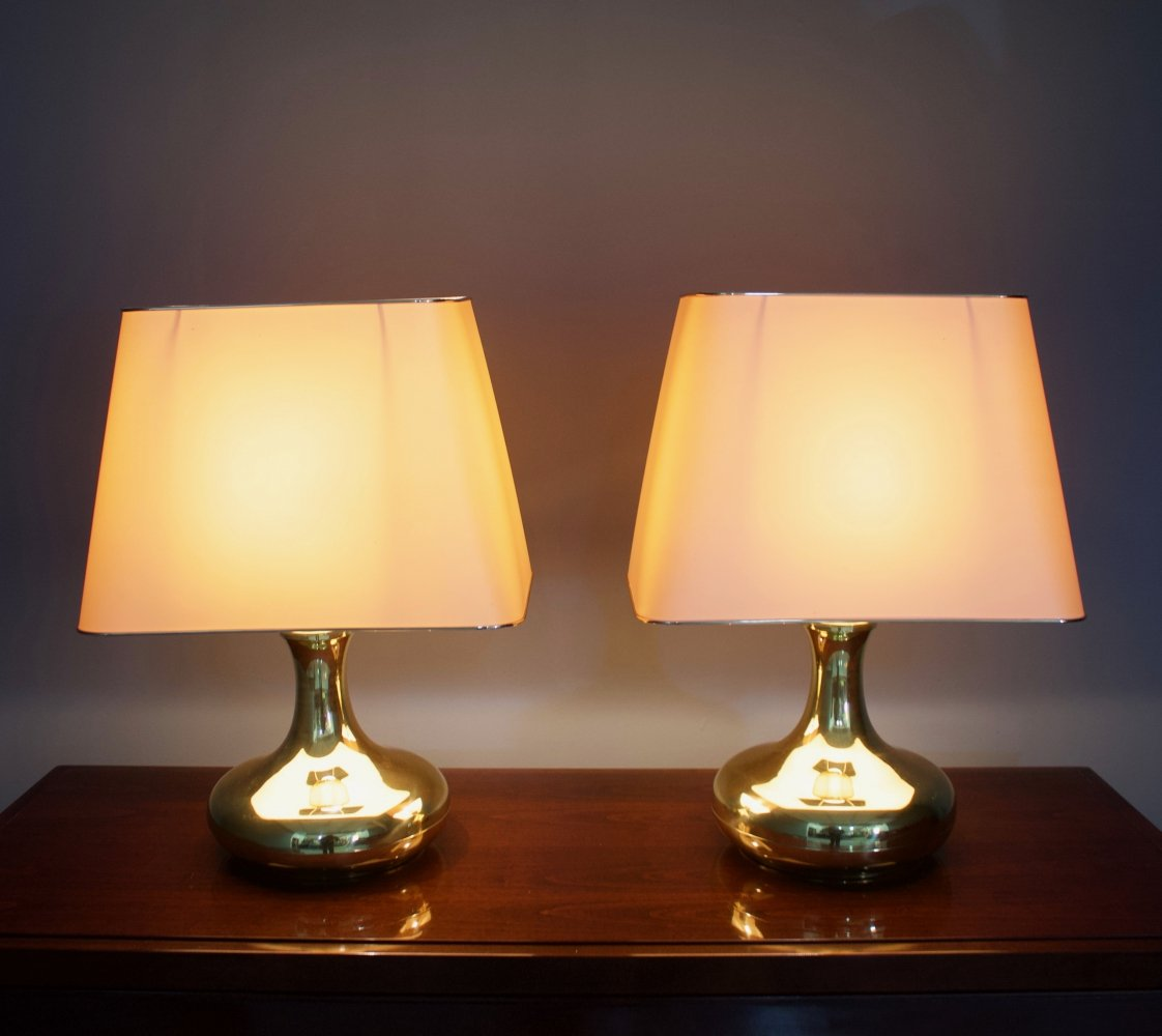 Pair of Brass Tulip Tabe Lamps, 1970s