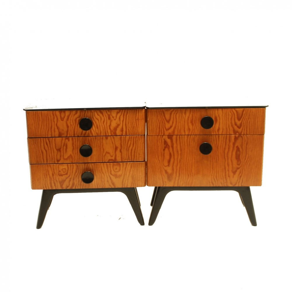 Pair of Bedside tables by Jindřich Halabala, 1950s