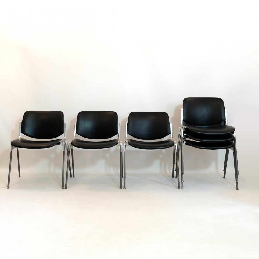 Set of 6 DSC Axis 106 chairs by Giancarlo Piretti, 1960s