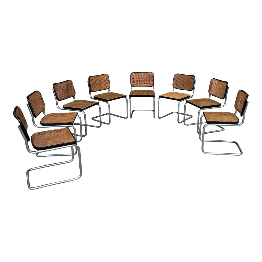 Set of 8 B32 Cesca dining chairs by Marcel Breuer for Gavina, 1960s