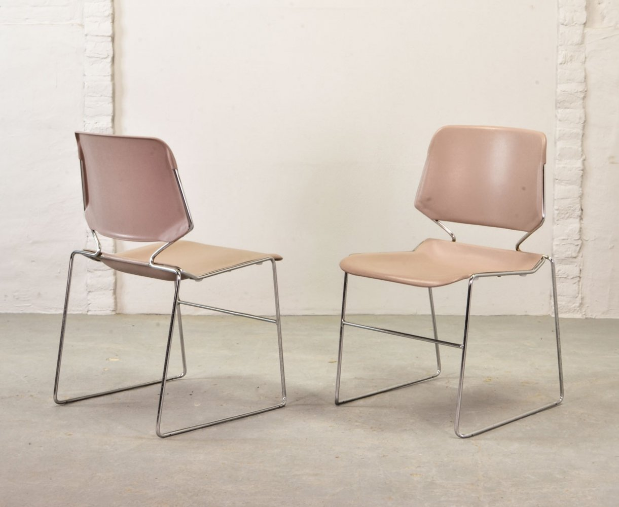 Pink Stackable Matrix Krueger Chairs by Thomas Tolleson, 1970s