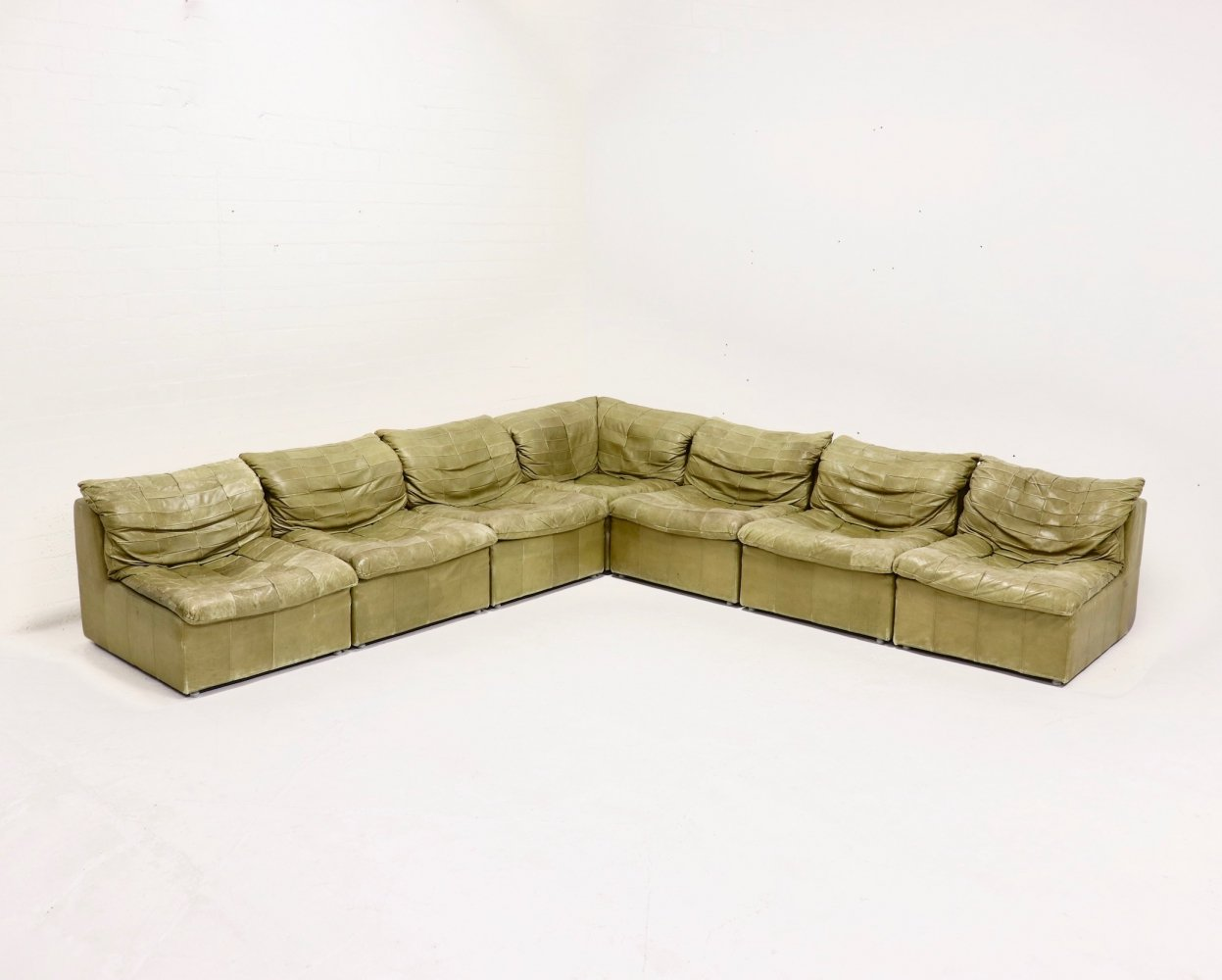 Olive Green Modular Leather Patchwork Laauser Sofa, 1970s