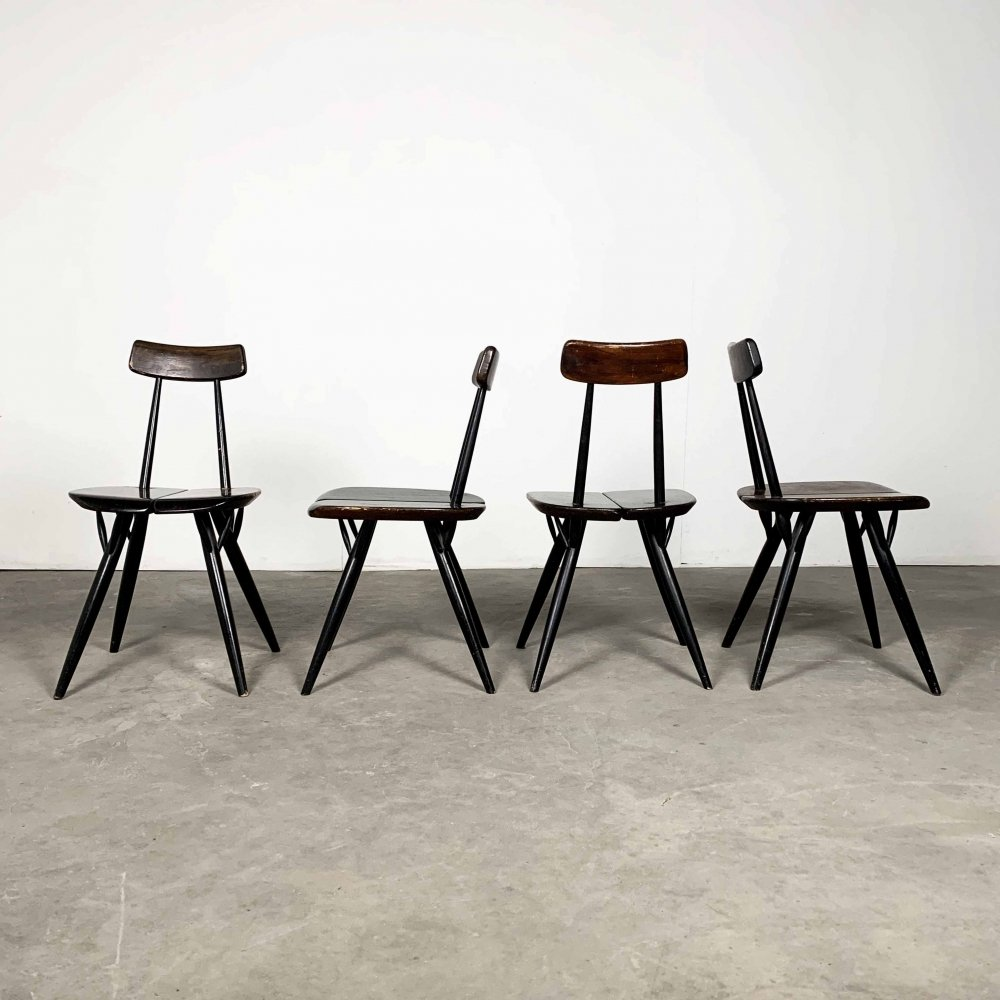 Set of 4 Pirkka Dining Chairs by Ilmari Tapiovaara, 1960s