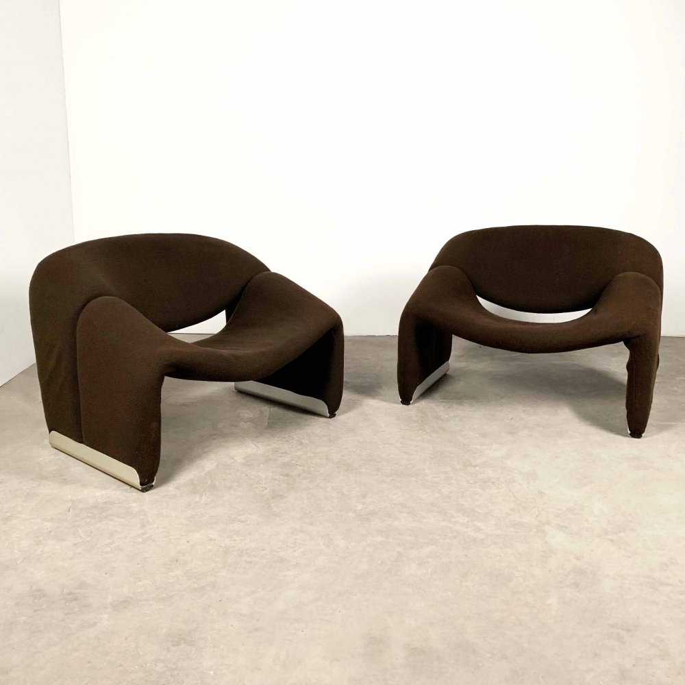 Set of 2 F598 Groovy Chairs by Pierre Paulin for Artifort, 1970s