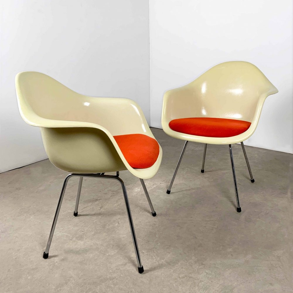 Pair of Fiberglass DAX Arm Chairs by Charles & Ray Eames for Herman Miller, 1980