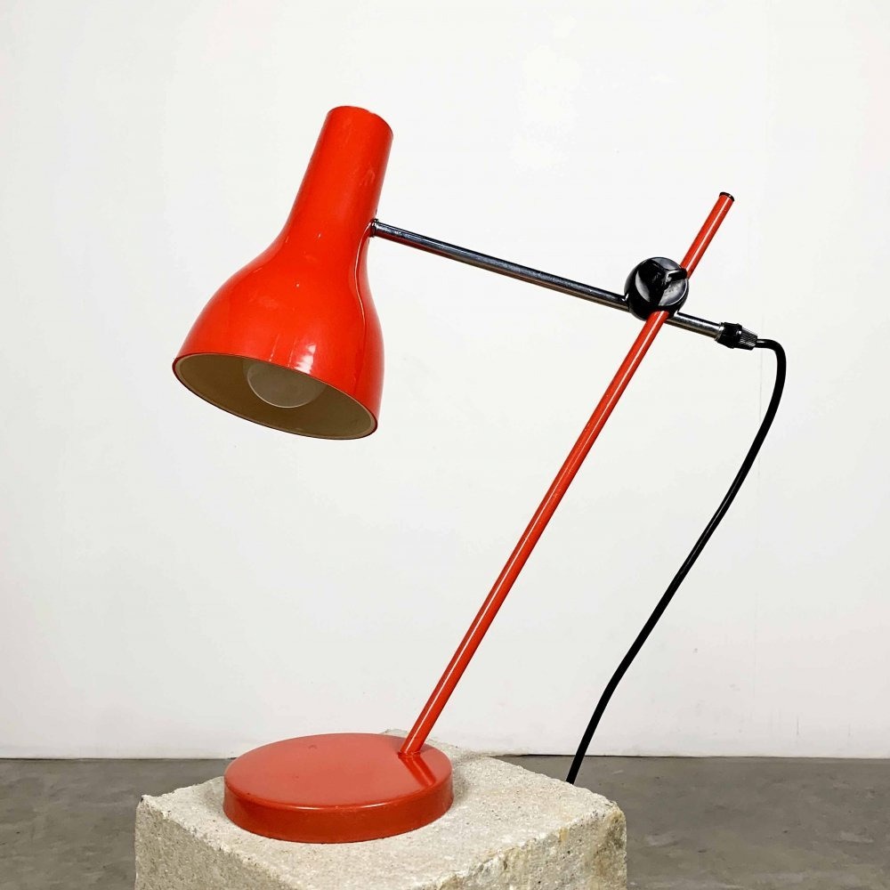 Red Metal Table Lamp, 1960s
