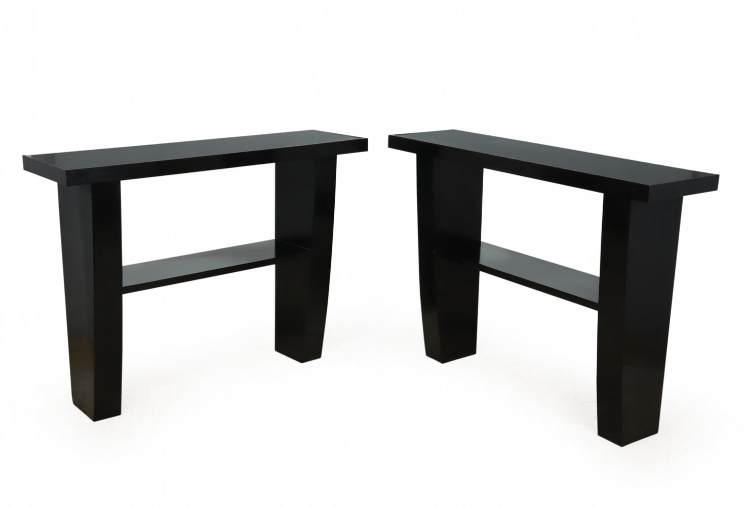 Pair of Art Deco Console Tables in Piano Black Lacquer