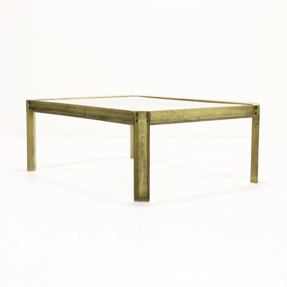 Brutalist Cast Brass T09 Embassy Coffee Table by Peter Ghyczy, 1970s
