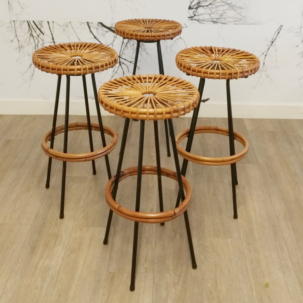 Set of 4 Bar Stools by Rohé Noordwolde, 1960s