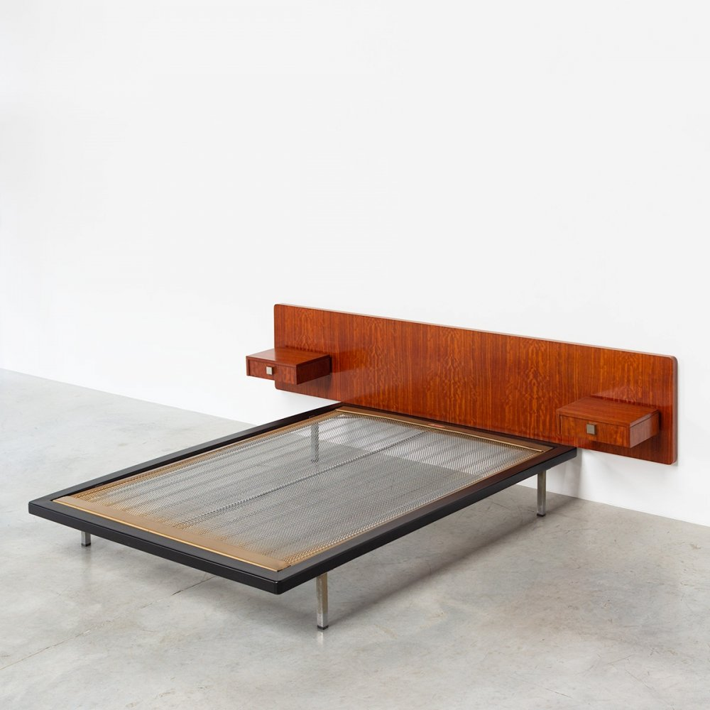 Rosewood double bed by Alfred Hendrickx for Belform, 1960s