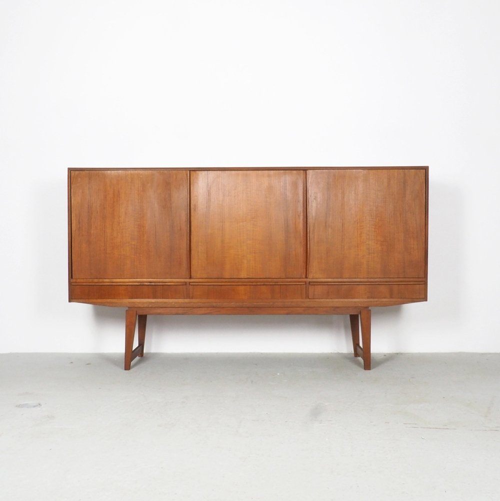 Danish design teak highboard with sliding doors & drawers, 1960