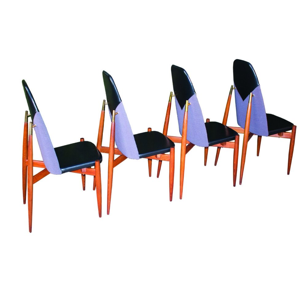 Set of 4 Rare dining chairs by Miroslav Navratil, 1960s