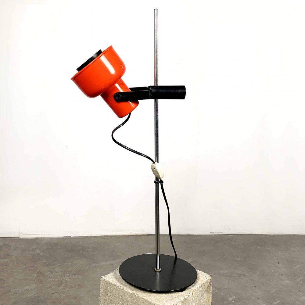 Red & Black Metal Table Lamp, 1970s