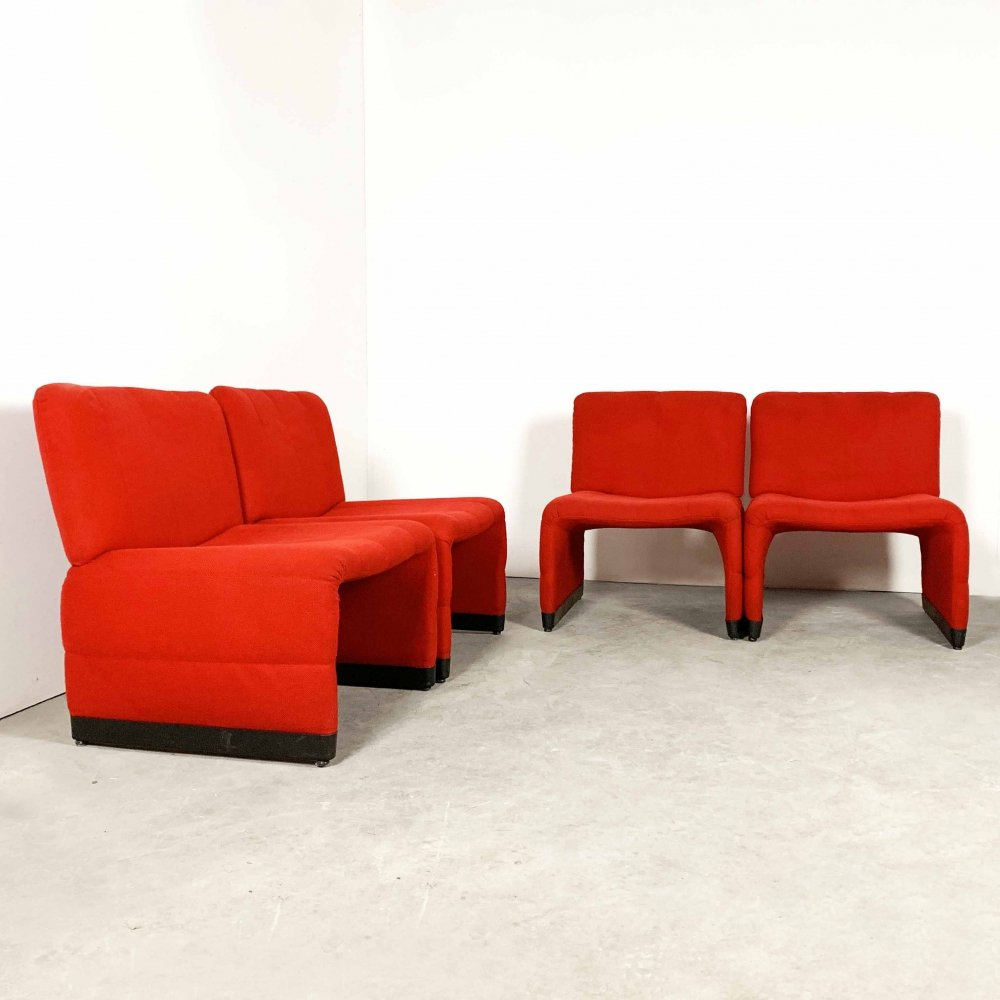 Set of 4 red lounge chairs, 1970s