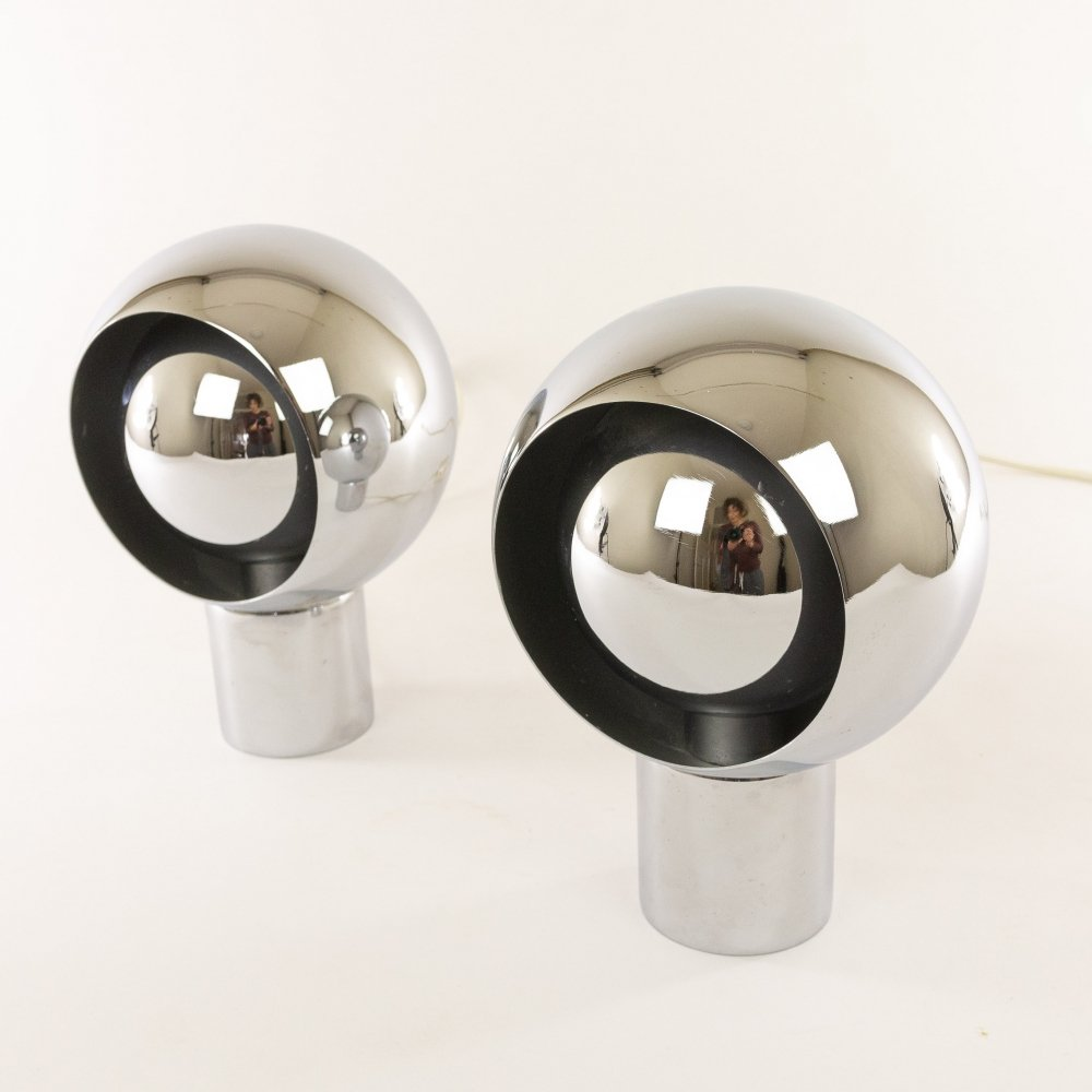 Pair of Italian chrome globe table lamps, 1970s