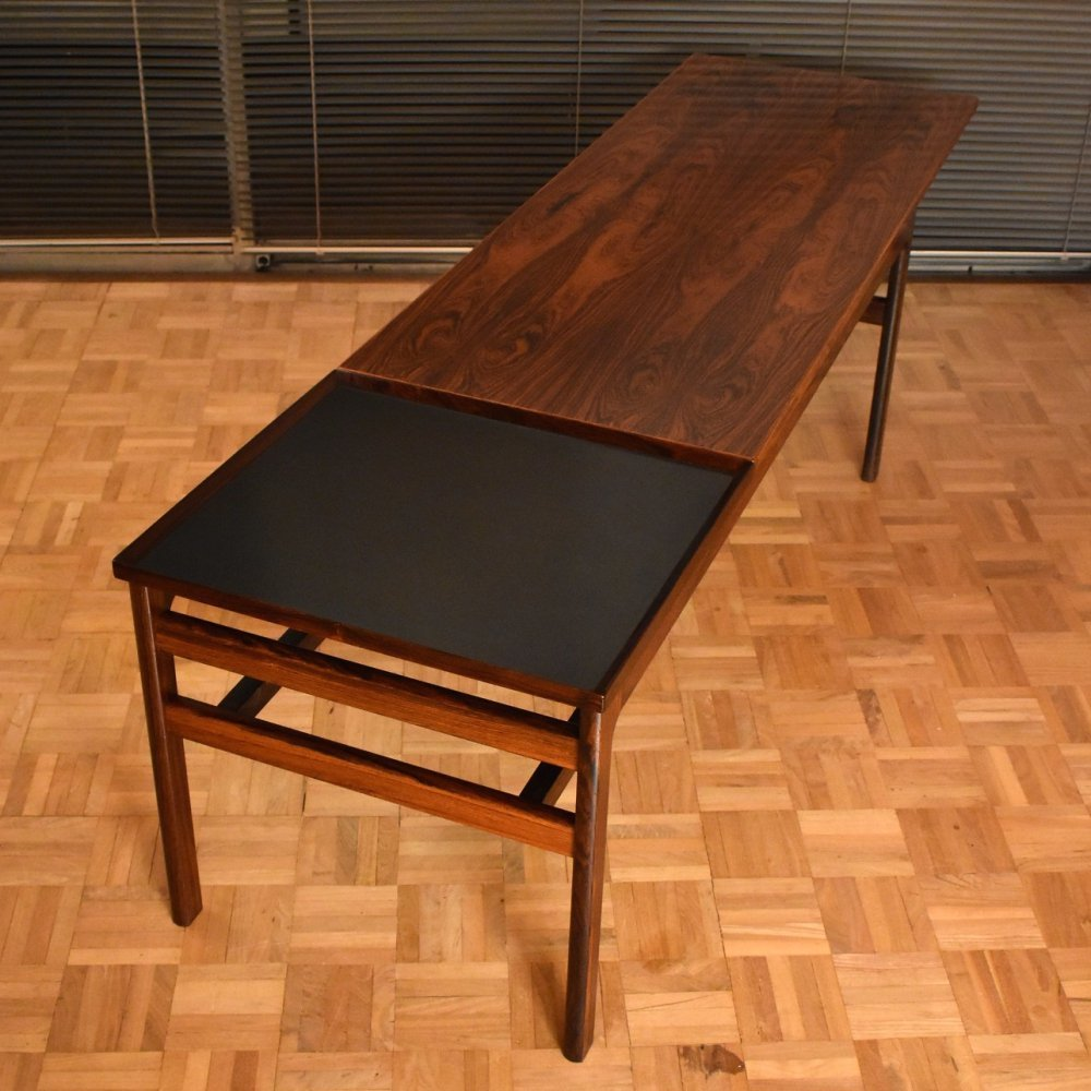 Hans Olsen Extendable Rosewood Coffee Table With Melamine Tray