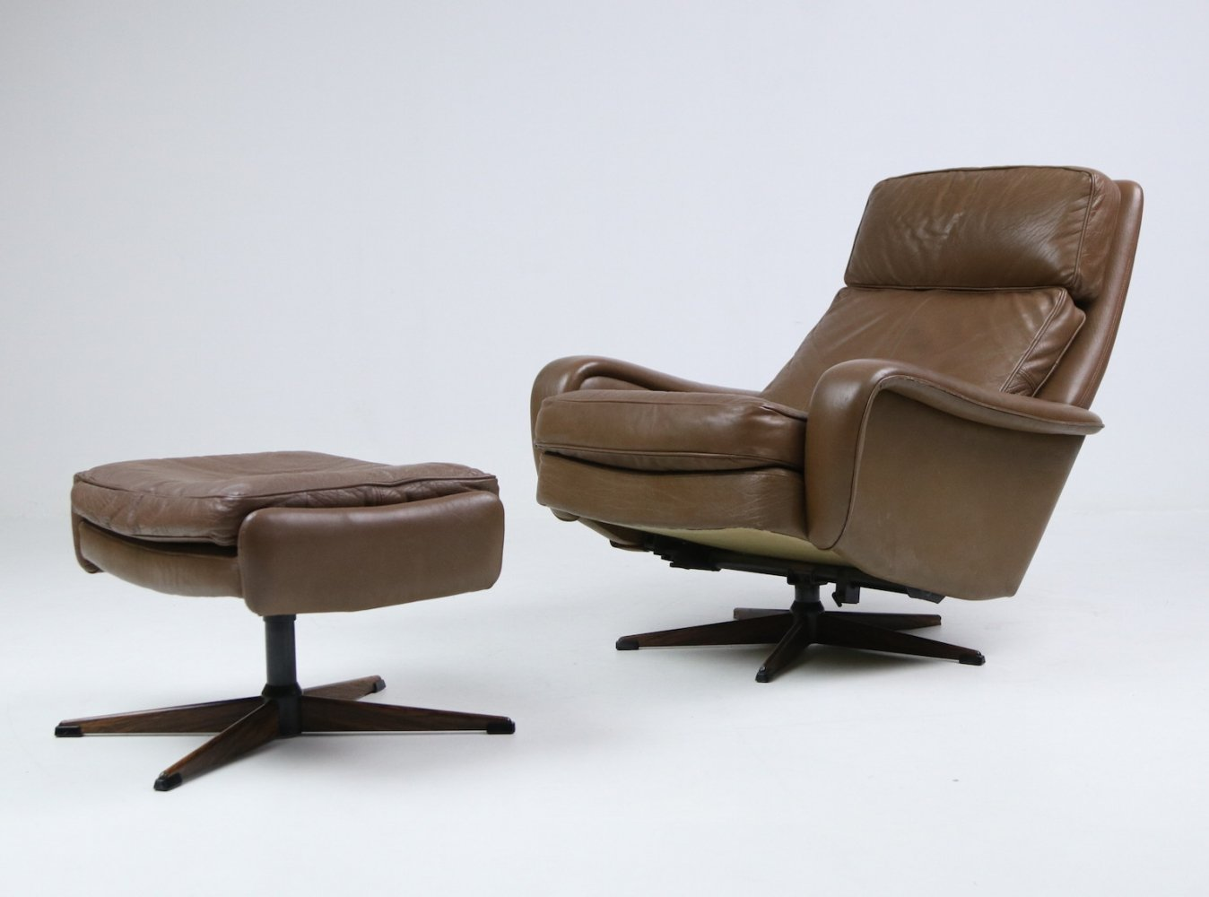 Madsen & Schubel vintage armchair in buffalo leather with ottoman