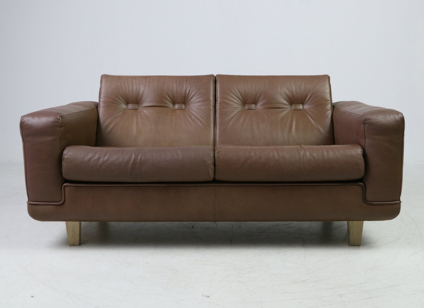 Vintage 2-seater sofa in brown leather by Søren Nissen & Ebbe Gehl, 1970s