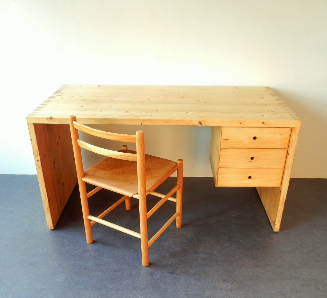 Pine wood writing desk set (desk + chair) by Ate van Apeldoorn for Houtwerk Hattem, 1970s