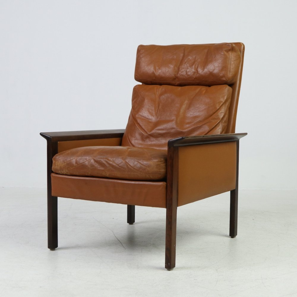 Vintage armchair in cognac leather by Hans Olsen for CS Mobler, 1960s