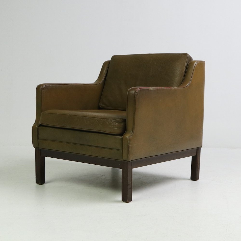 Brown leather armchair, Denmark 1970s