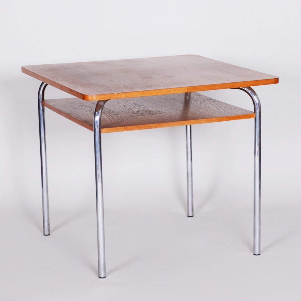 20th Century Czech Oak & Chrome Bauhaus Table by Vichr a Spol, 1940s