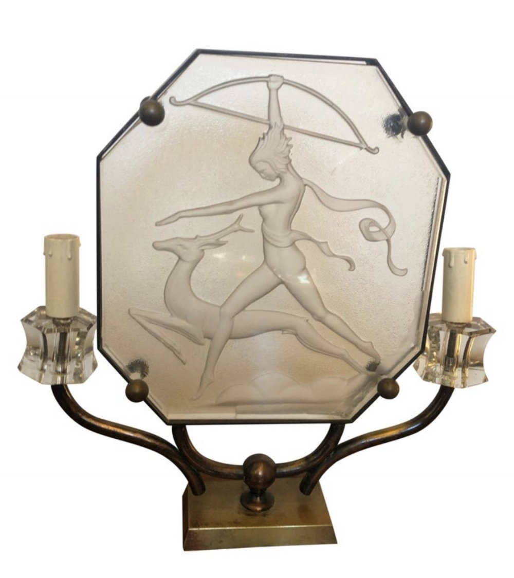 Art Deco Glass & Brass Italian Table Lamp, circa 1930