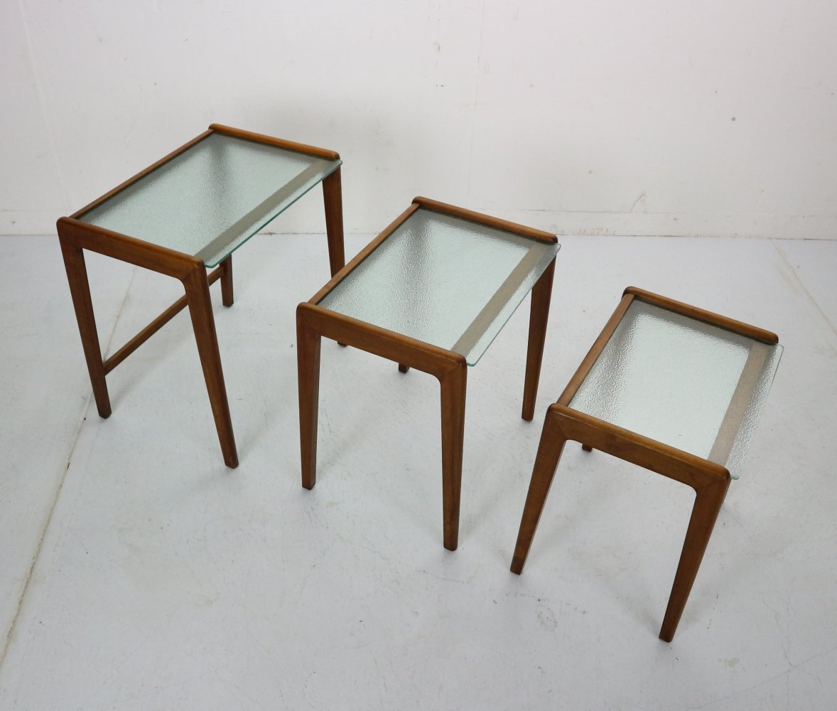 Midcentury Scandinavian Modern Walnut & Glass Nesting Tables, Denmark 1960
