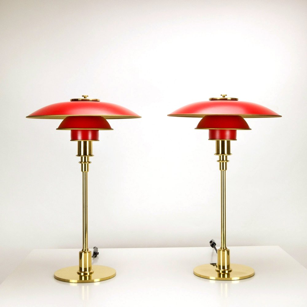 Pair of Poul Henningsen PH 3/2 Anniversary Model Table Lamps