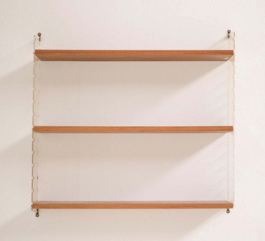 Nisse Strinning wall unit with Teak & Plexiglass Shelves