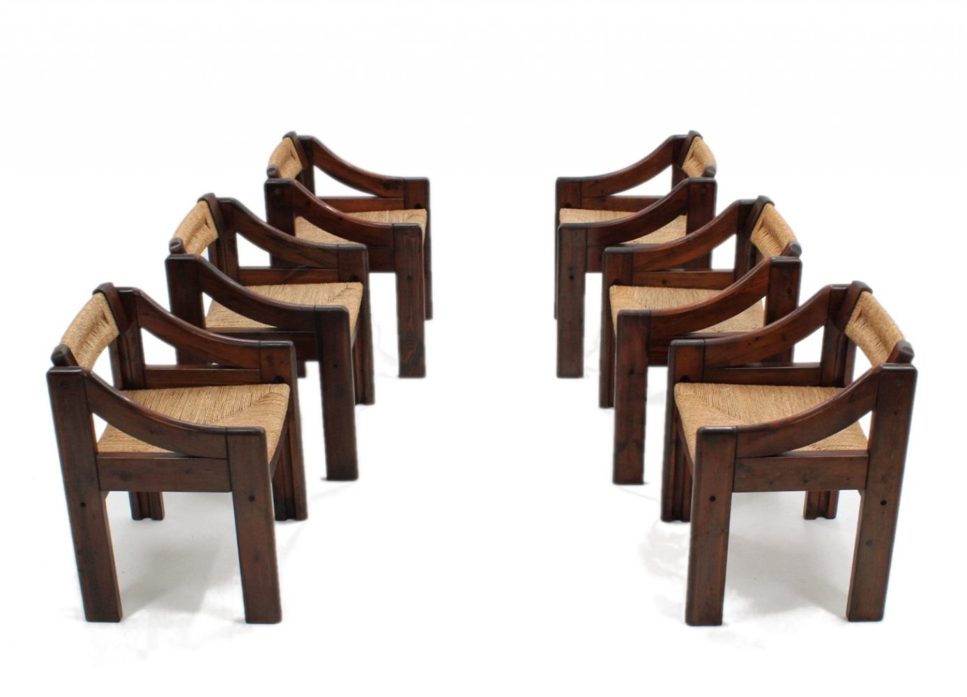 Set of 6 Italian design vintage dining chairs by Montina, 1970s