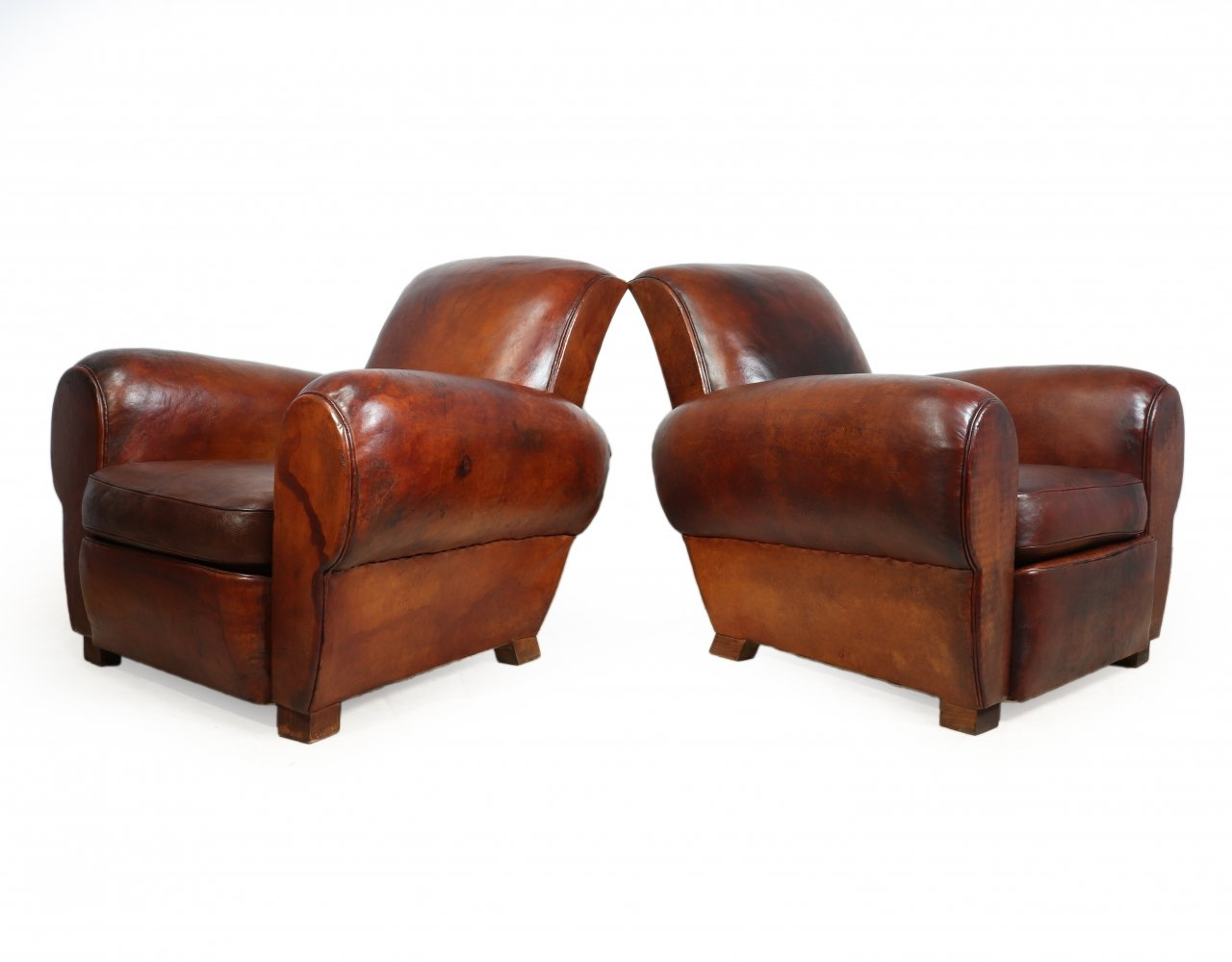Pair of French Leather Club Chairs, 1940s