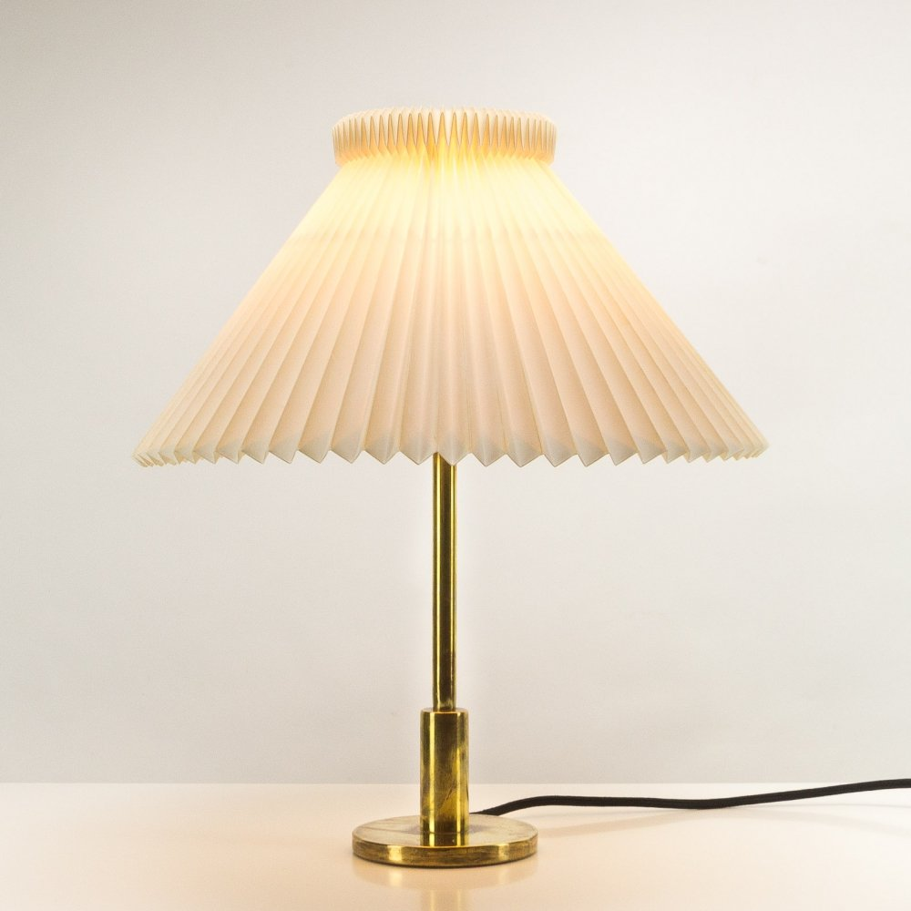 Stepped Column Brass Lamp with Le Klint Shade, Denmark 1960s