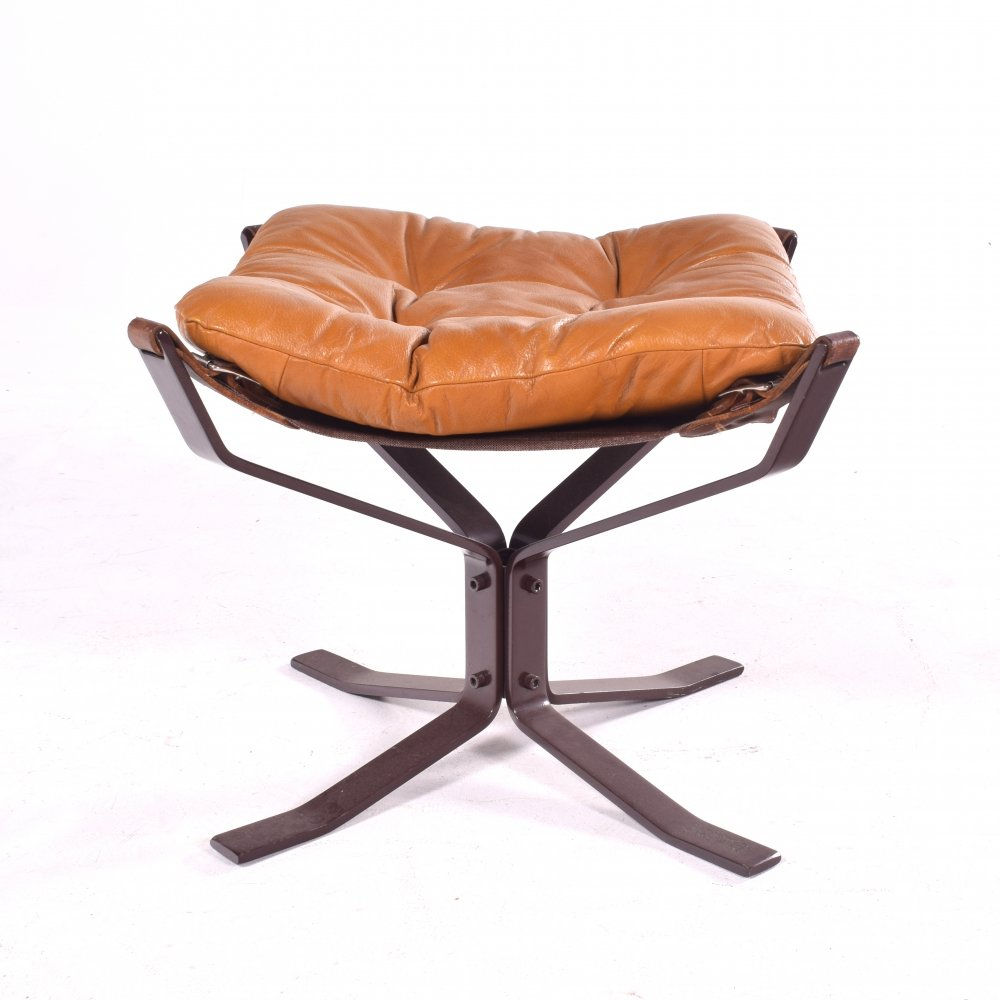 Mid Century Falcon Footstool by Sigurd Ressell in Brown Leather