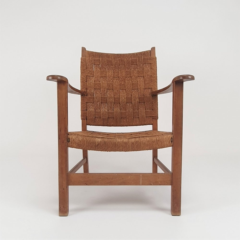 Dutch Mid Century Modernist Oak & rope Armchair, 1940s