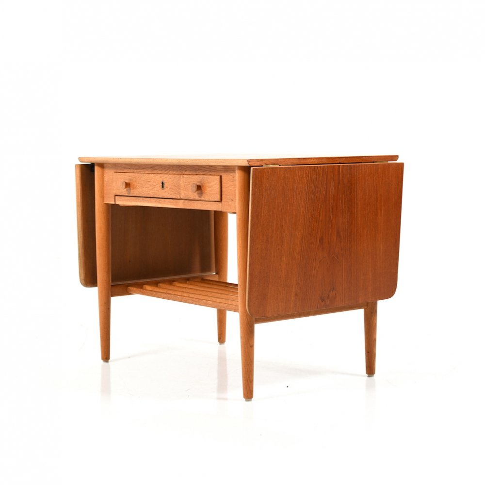 Mid Century Danish Sewing / Side Table in Teak & Oak