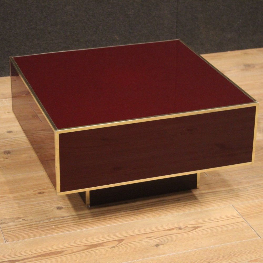 Red & Gold Wood & Plastic Italian Design Coffee Table, 1980