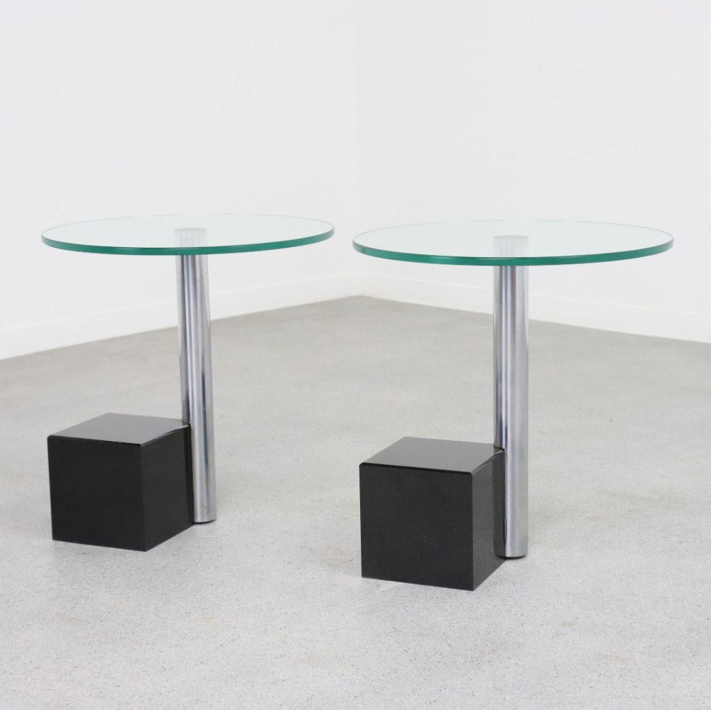 Pair of HK-2 side tables by Hank Kwint for Metaform, 1980s