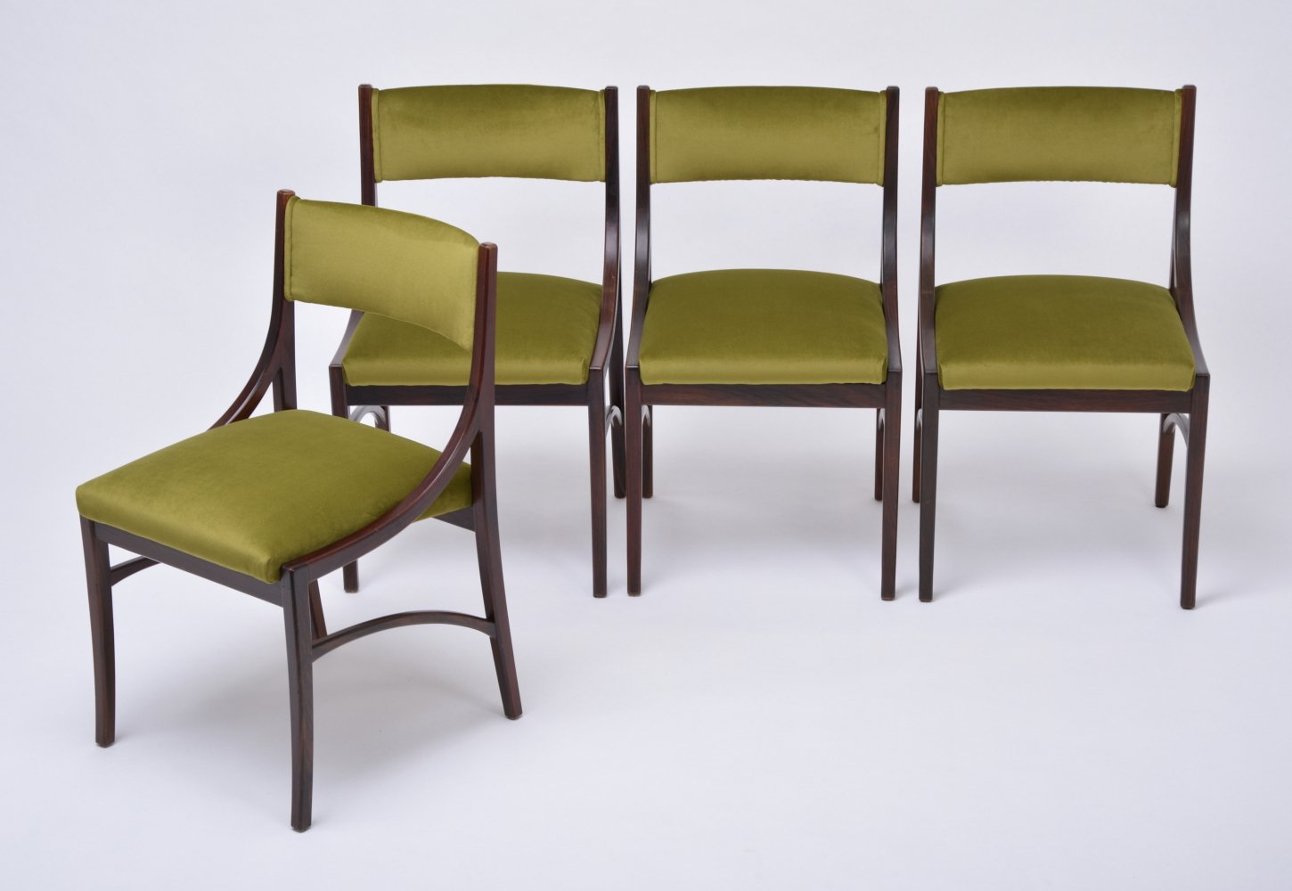 set of four model 110 dining chairs by ico parisi in green velvet