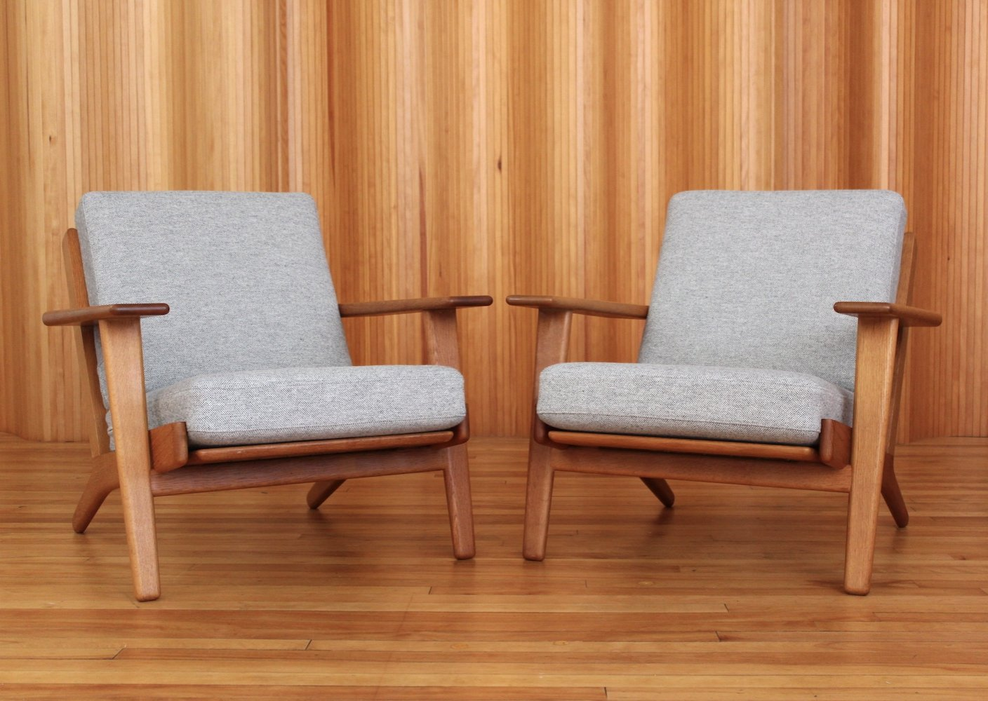 Pair of Hans Wegner oak GE290