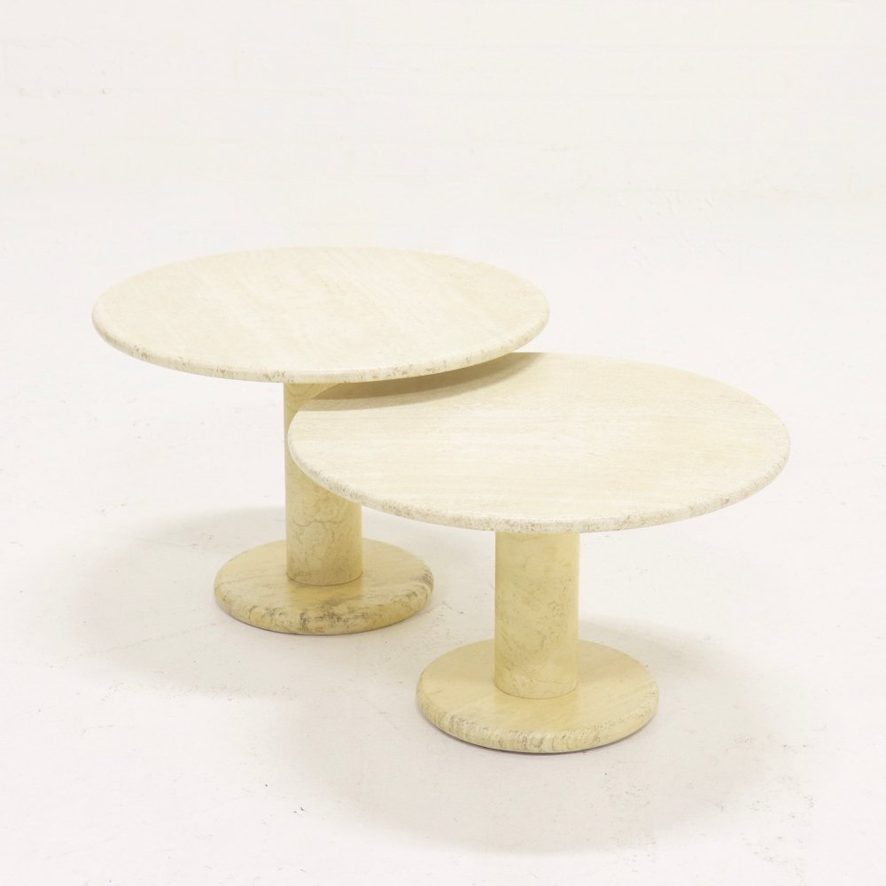 Set of 2 Italian Travertine Coffee Table or Side Tables, 1970s