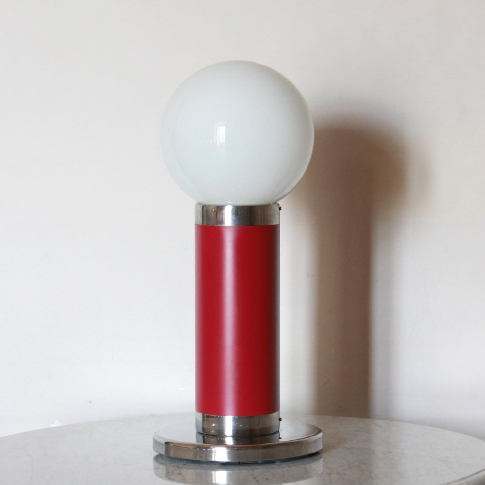 1960s Opaline Table/Floor Lamp With Fucsia Structure And Chromed Base
