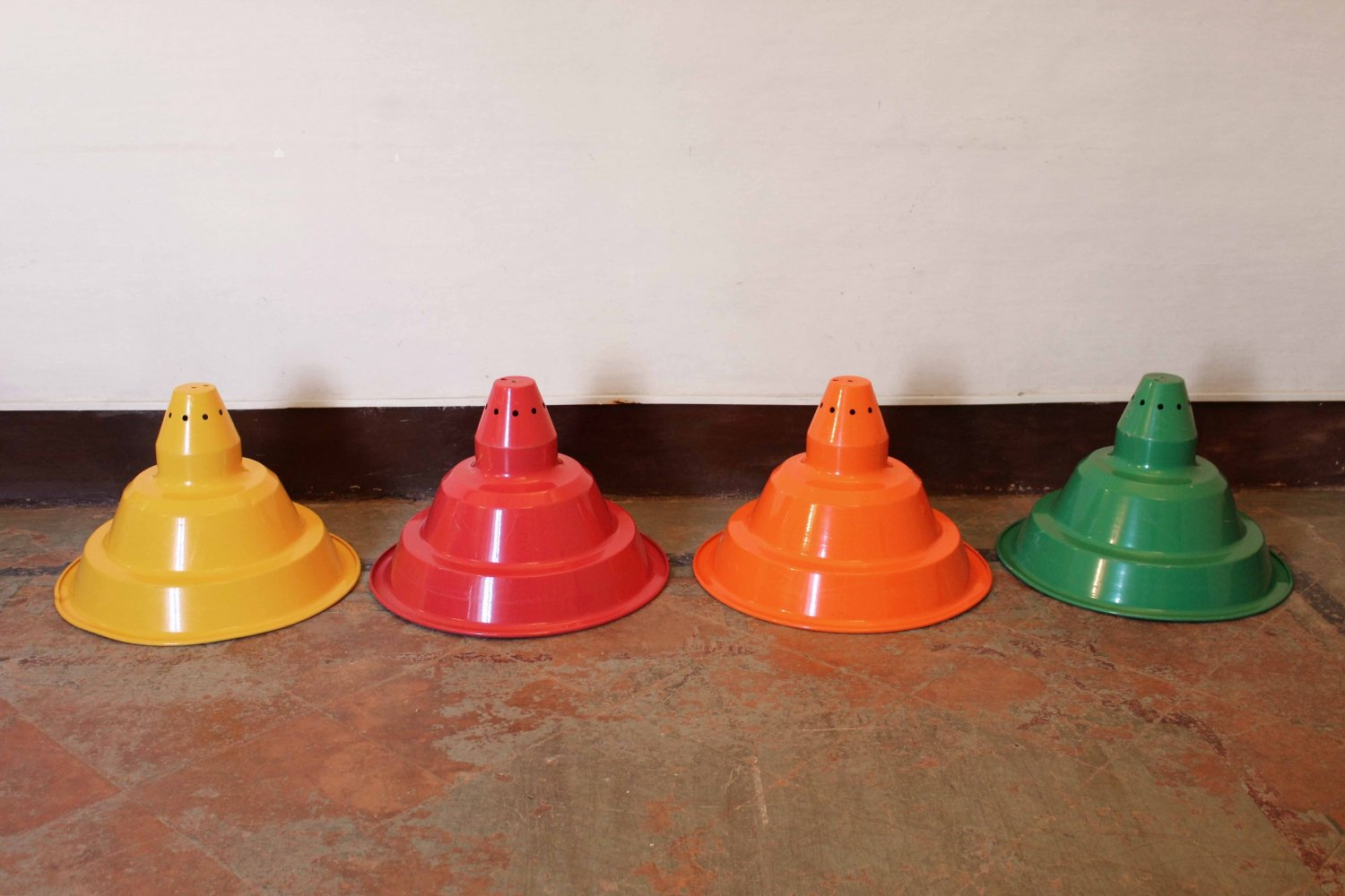 Big vintage coloured lampshades in industrial style, 1970s