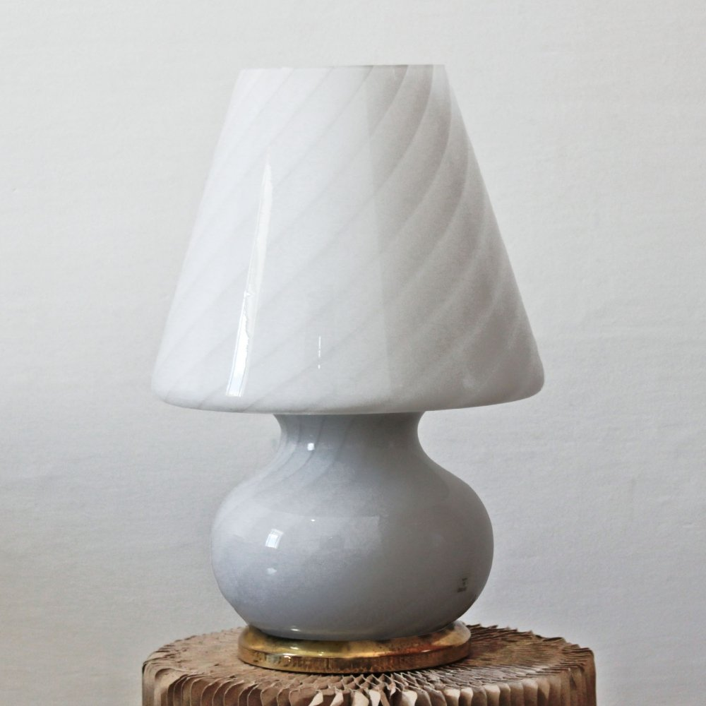 Vintage Murano Glass Table Lamp With Brass Base, 1960s