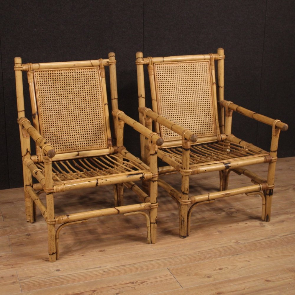 Pair of 20th Century Bamboo Wood & Cane Italian Design Armchairs, 1970