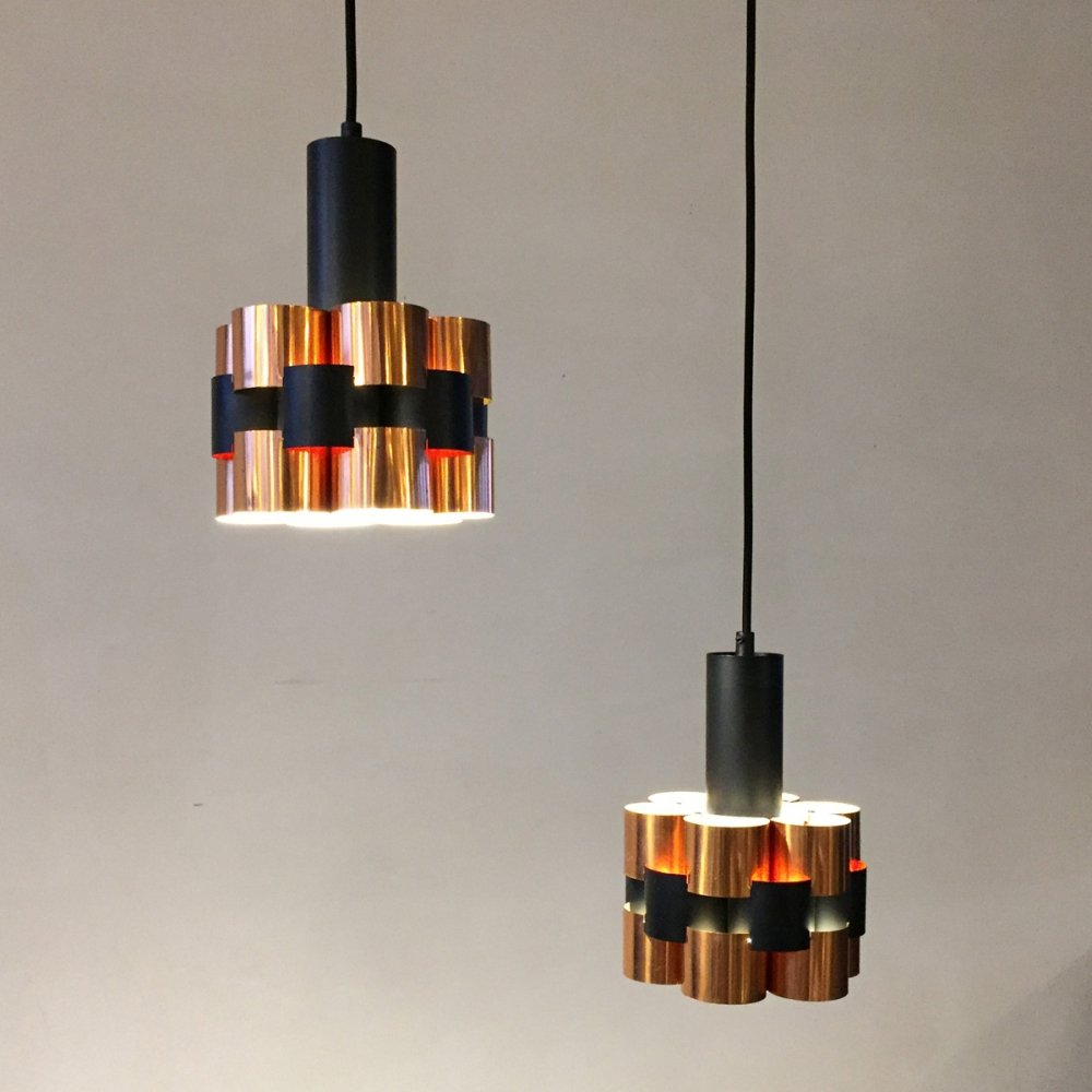 Set of 2 copper hanging lamps for Coronell by Werner Schou, 1960s